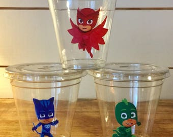 PJ Mask 12 oz party cups with lids