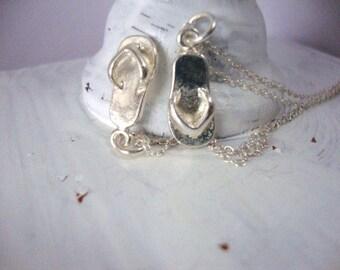 Flip flop necklace, beach jewelry, flip flop charm, charm necklace, flip flops, layer necklace, cowoker gift