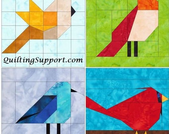 10 Inch Bird Set 1 Paper Foundation Piecing Quilting 4 Block Patterns PDF