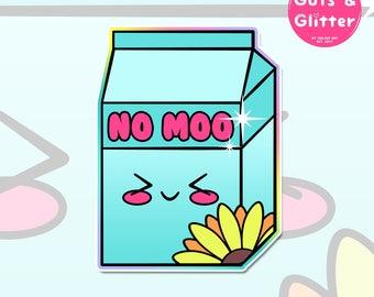 No Moo, Plant Milk, Vegan Holographic Sticker