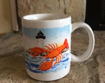 Vintage Ceramic Lobster/Connecticut/Lighthouse Coffee Mug, Coastal, Cottage, Nautical Seascape, Sailboat, Maine