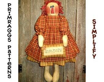 PATTERN Primitive Raggedy - Simplify - Cloth Rag Doll - Primraggs - instant download