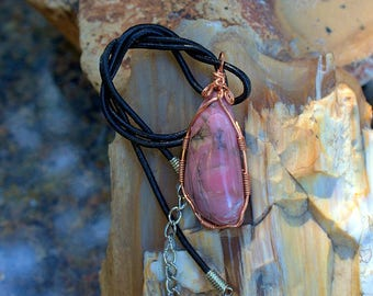 Pink gemstone free form Rhodonite pendant copper wire wrapped with leather necklace