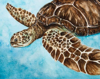 Sea Turtle Watercolor, Green Sea Turtle, Turtle Watercolor, Ocean, Sea Turtle, Ocean Animal, Endangered Species, Standard Art Print, 4x6""
