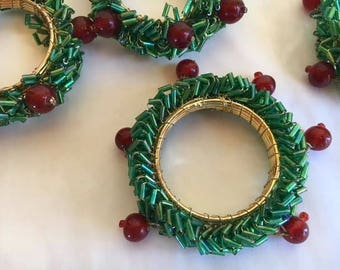 Napkin Rings, Christmas Wreaths, Christmas Table, Christmas Wreath Napkin Rings, Green Bugle Beads, Vintage, 6 Count