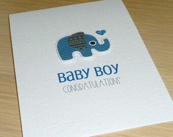 Baby Boy congratulations card with blue elephant - new baby card - baby boy - handmade greeting card