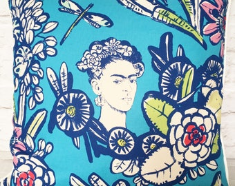 """Frida Kahlo cushion pillow cover, 18"""" 45cm - blue - unusual housewarming gift - quirky home decor - present for artist"""