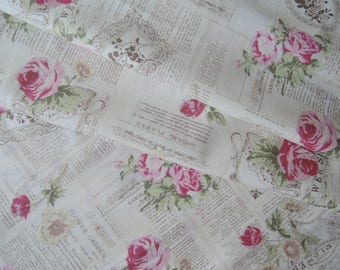 "Half Yard of Yuwa Vintage News Paper Floral Cotton Linen Blend Fabric on Cream Background. Approx. 18"" x 54"""