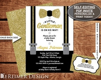 Little Man Baby Shower Invitation, Little Gentleman, Bow Tie, Suspenders, Black, Gold Glitter, Self-Editing PDF Invite, BONUS Diaper Tickets