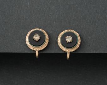 Vintage B and N  Earrings  12 k Gold Fill  Onyx