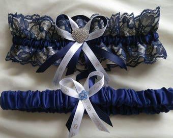 Navy Blue, Ivory and white Bridal Garter Set