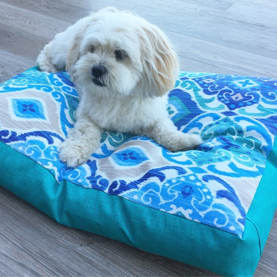 'Rylo' Dog Bed with insert.  Teal & Blue Pet Bed - SMALL