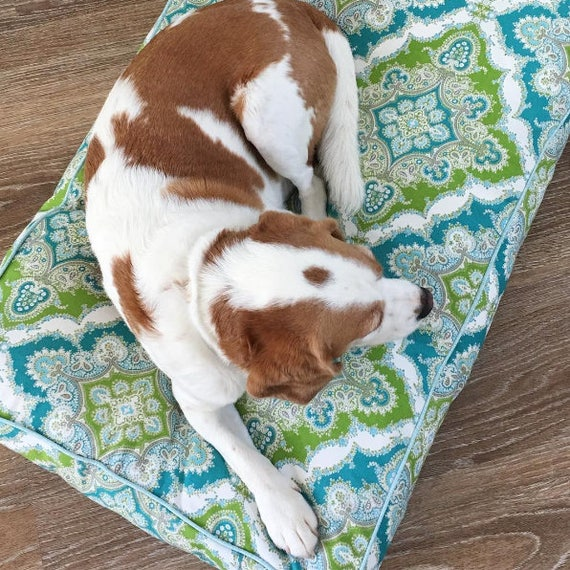 'Arabella' Dog Bed with insert - Green & Blue floral pet bed - SMALL, MEDIUM, LARGE