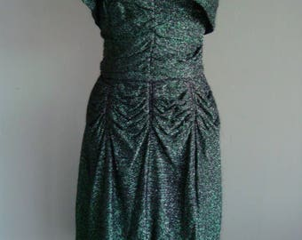 1940'S Inspired Green lame Spaghetti Strapped Dress with Bolero Jacket