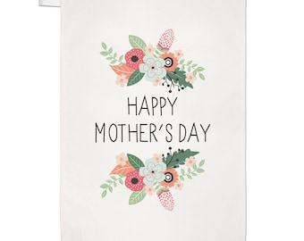 Happy Mother's Day Flowers Tea Towel Dish Cloth