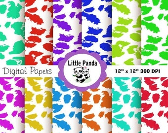 60% OFF SALE Leopard Print Digital Paper Pack, Scrapbook Papers, 12 jpg files 12 x 12  - Instant Download - D56