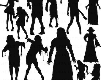 60% OFF SALE Zombie Silhouettes Digital Clip Art - Personal and Commercial Use - Instant Download - D383
