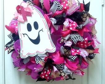 Ready to Ship! Halloween Wreath, Deco mesh wreath, Fall Wreath, Auutumn Wreath, Ghost Wreat, Breast Cancer Wreath, Girl Ghost Wreath