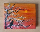 Purrfect Sunset is a  Tiny Original Acrylic Painting on Canvas, Miniature Painting, Small Artwork, Home Decor, Art & Collectibles
