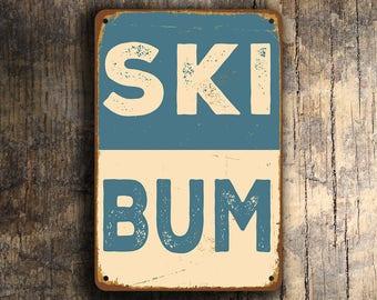 SKI BUM SIGN, Ski House Signs, Ski Bum, Vintage style Ski Bum Signs, Ski Wall Art, Ski Wall Decor, Ski Room, Ski Quote, Ski Gift, Ski, Bum
