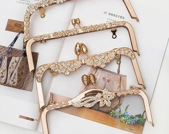 1 PCS, 20.5 cm / 6 inch Width, High Quality Rose Gold Light Gold Metal Kiss Clasp Lock Frame for Purse Bag Craft