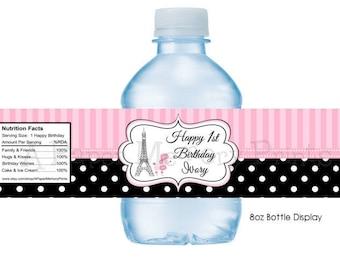Paris Poodle Water Bottle Labels DIY Printable