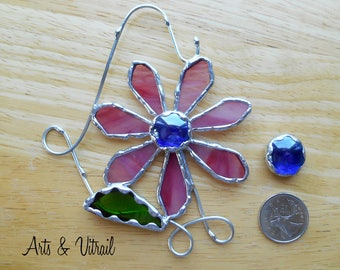 Stained Glass Flower, Screen Door Magnet, Flower Glass, Gift Stained Glass, Decorative welding, Suncatcher, Suspension Windows