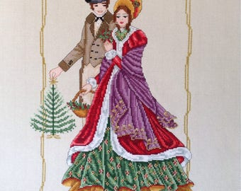 Victorian Christmas- Victorian Christmas Card Christmas Carol PDF Counted Cross Stitch Chart Pattern Instant Download