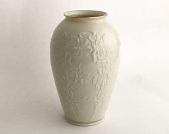 LENOX China VASE, Pair Vintage Lenox, Centennial Vase, Porcelain Vase,made in USA, Embossed flowers,ivory w gold trim, Flowers and foliage