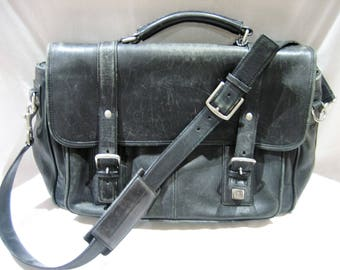 Vintage Coach #6445 Fulton Mens Classic Black Leather Briefcase Business Large Laptop Bag