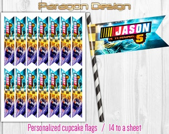 NASCAR Style - Personalized Cupcake Flag Toppers, Party Paper Flags, Straw Flags - DIY Printable Digital File