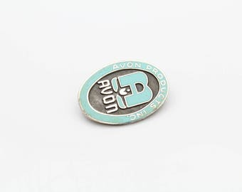 Tiny Vintage Oval Avon Products Brooch in Enamel and Sterling Silver. [11137]