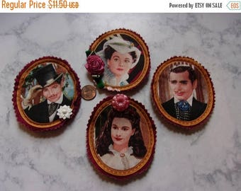 Gone With The Wind Portrait Magnets Rhett and Scarlett; Hollywood Classic MGM Movie Theme; Quilted Art Fabric; Set of 4; Gift for Her; GWTW