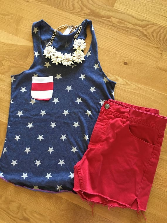 Women's Stars and Stripes patriotic tank, racerback stars tank top, 4th of july womens tank, Independence Day clothes, red white blue tank
