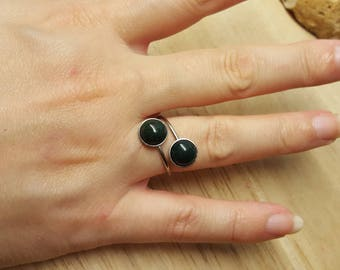 hypoallergenic bloodstone ring adjustable bypass stainless steel ring march birthstone reiki jewelry - Hypoallergenic Wedding Rings