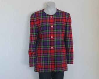 Women's Jacket Plaid Jacket Vintage Jacket Purple Red Green Pink Plaid Blazer Women Jacket Wool Blend Checked Long Sleeve Blazer Large Size