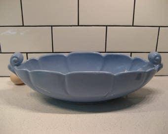 40% OFF SALE // Vintage Abingdon Pottery Centrepiece - Grecian design - Credenza - Console - made in USA - Slate blue - Retro heavenly blue