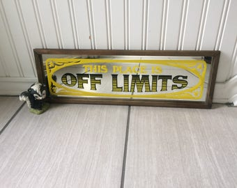 Mirrored Sign, Off  Limits Sign, Bar Sign, Mirror Sign, Vintage Sign, Man Cave Sign, Pub Mirror Sign