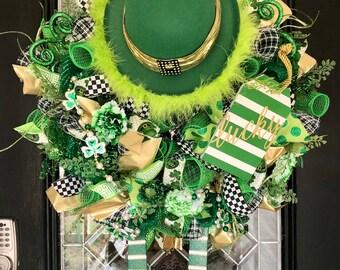 St. Patricks Day Wreath, Saint Patrick's Day Decoration, Front door wreath, Wreath for Door, Green Wreath