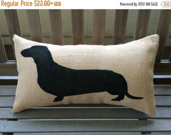 "SALE Dachshund - Wiener Dog Burlap Pillow Cover - Dog Lover Gift - Fits a 12"" x 22"" pillow insert"