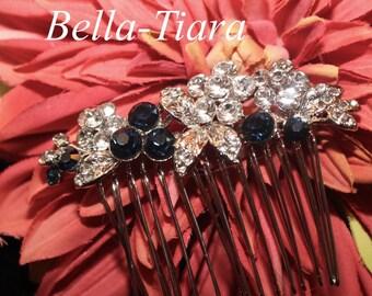 Swarovski crystal blue bridal comb,  navy wedding comb, bridal comb, crystal hair comb, blue wedding hair comb, wedding comb