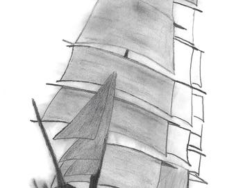 An original pencil drawing of a Tea Clipper