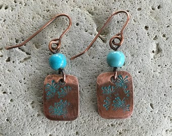 Women's Copper Turquoise earrings - drop dangle -  Disc - beaded earrings - Metal - Artisan - Handmade