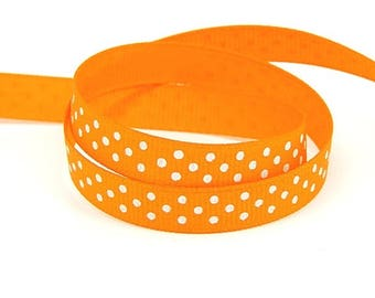 3 meters of Ribbon orange polka dot grosgrain Ribbon 10mm