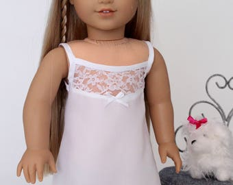 18 inch girl doll clothes - White slip with lace yoke