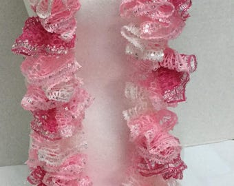 Crocheted Ruffle Infinity Scarf perfect for Valentines Day!