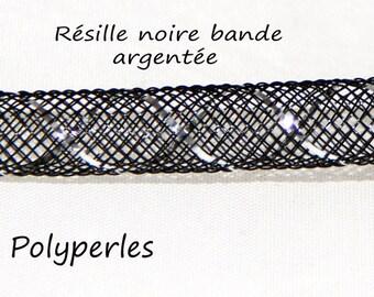 50cm of mesh nylon Black mesh silver band 8mm