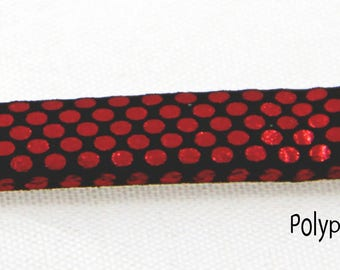 50 cm cord 6mm flat STYLE SEQUIN faux leather Red