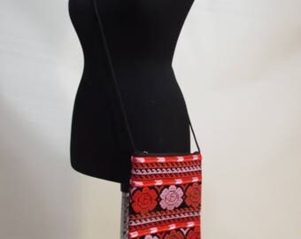 Cross-stitch red pink flower Embroidered cross body bag