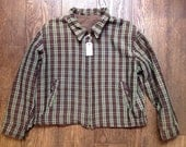 """Vintage 1950s 50s 1960s 60s green brown checked iridescent reversible ricky jacket rockabilly 50"""" chest"""